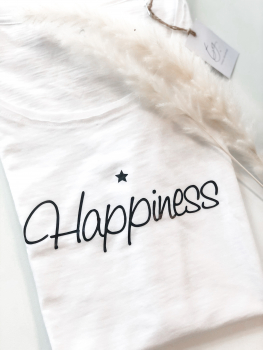 Oversized T-Shirt / HAPPINESS / weiss - HANDMADE - Tanja Graupner